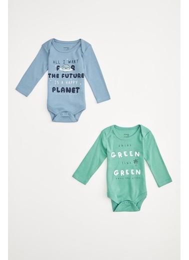 DeFacto Erkek Bebek Baskılı Çıtçıtlı 2 'li Body Yeşil